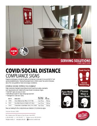 TableCraft Mask and Social Distancing Signage
